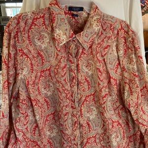 Button down 3/4 sleeve business causal top